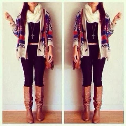 White scarf, cardigan, pants, long neck boots and hand bag for fall