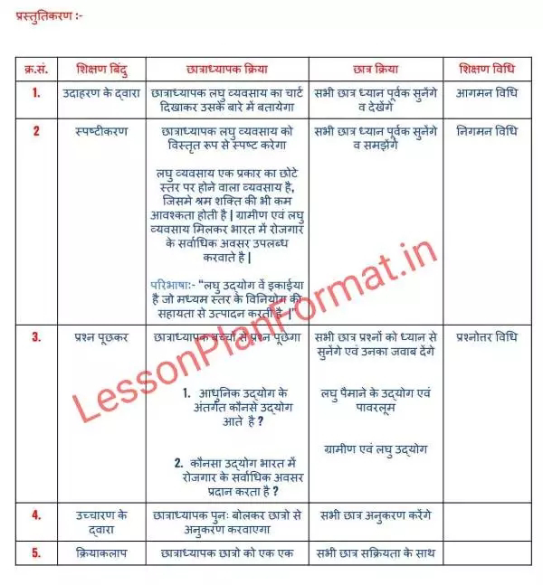 Lesson Plan Business Studies in Hindi