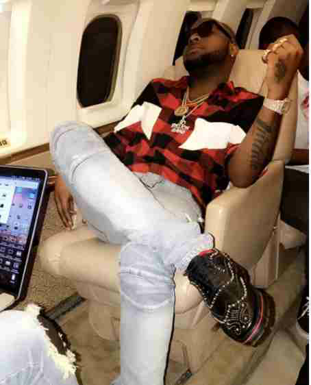 Davido shows off his expensive shoes