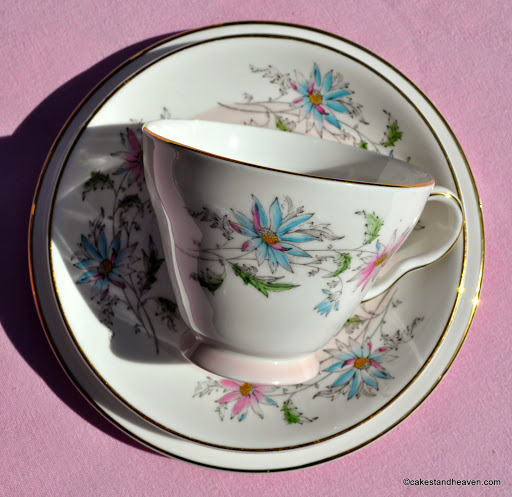 Pretty 1960s pink and blue floral china teacup trio