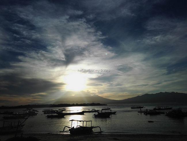 sunrise cantik di gili trawangan