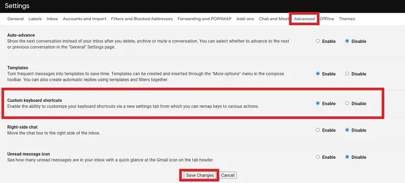 اختصارات لوحة المفاتيح تخصيص Gmail