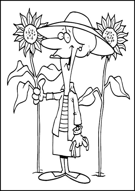 Sunflower Coloring Page To Sunflower Plant Page