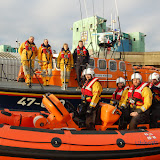 8 January 2012 Poole inshore and all-weather lifeboat crew about to embark on their first training exercise of 2012. Photo: Dave Riley