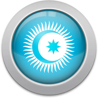 Turkic Council flag icon with a silver frame