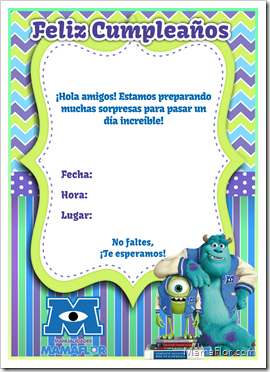 Tarjeta Invitación De Monsters Inc University Para Imprimir