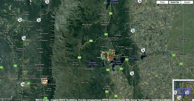 Au Sud de Cordoba : localisation des photos autour de Villa Amancay et de Merlo