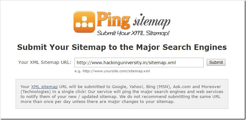 ping sitemap notify search engines about new content