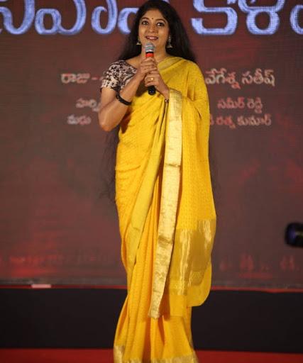 Telugu side Actress Sithara Long Hair Photos In Traditional Yellow Silk Saree Navel Queens