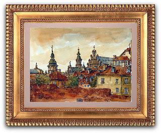 Warszawa Stare Miato Akwarela Móry Miasta
