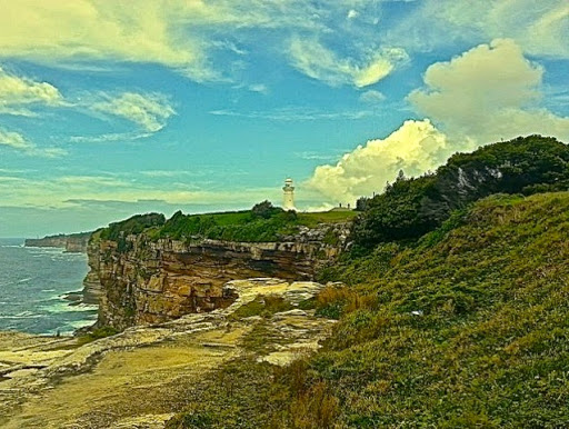 MacQuarie Lighthouse from afar, looking South along the coast. From Walking Sydney: North Bondi to South Head