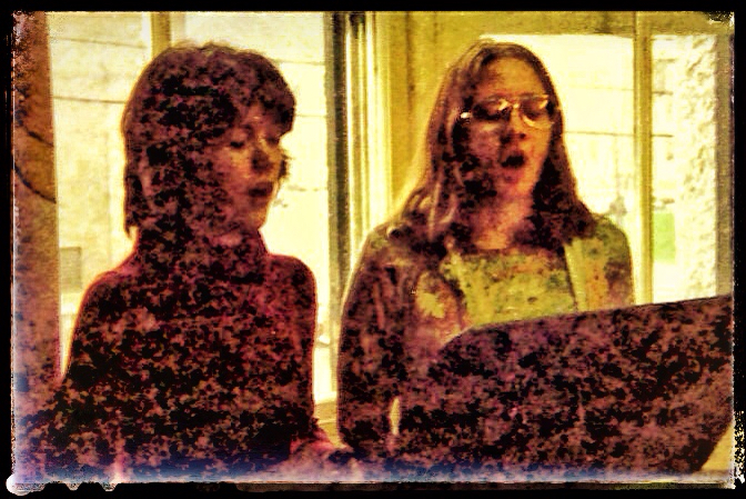 Holly and Dawn practicing to sing in the U of O stairwells