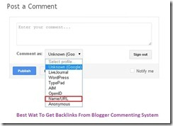 Best way to get backlinks with Blogger commenting system