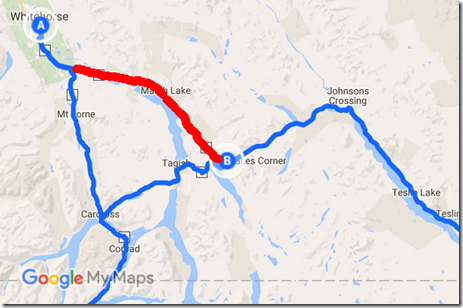 Map of 40 miles of once missed Alaska Highway