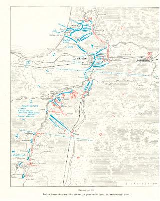 """18 января - 16 февраля 1919 г.Планы расположения войск Красной Армии (линии красного цвета), Эстонской (синий цвет) и Северо-Западной """"белой"""" Армии (фиолетовый цвет)"""