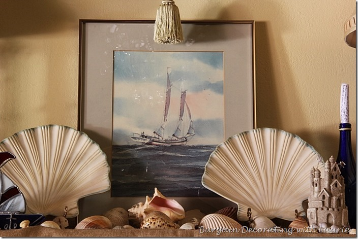 Sailboat and seashell decor