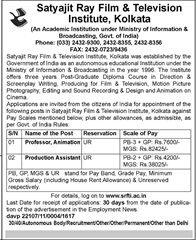 SRFTI Kolkata Recruitment 2016 www.indgovtjobs.in