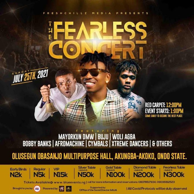 Fearless Concert: AAUA Set to Host Mayorkun, Buju, Woli Agba, and others. #Jonnelblogs