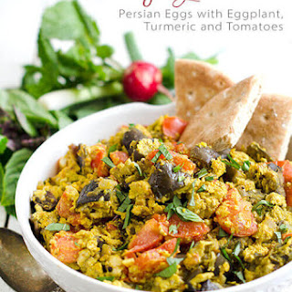 Mirza Ghassemi | Persian Eggs with Eggplant, Turmeric, and Tomatoes.