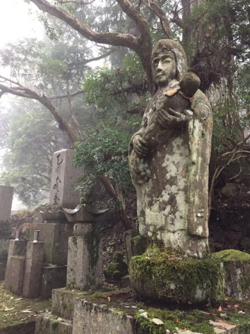Morning fog in Okunoin Cemetary, Koyasan. There are over 200,000 graves in this old cemetary