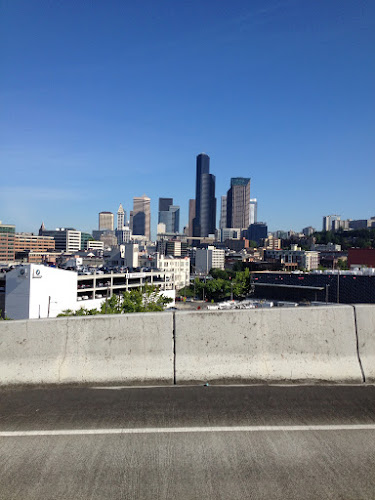 view of downtown Seattle from the I-90 ramp