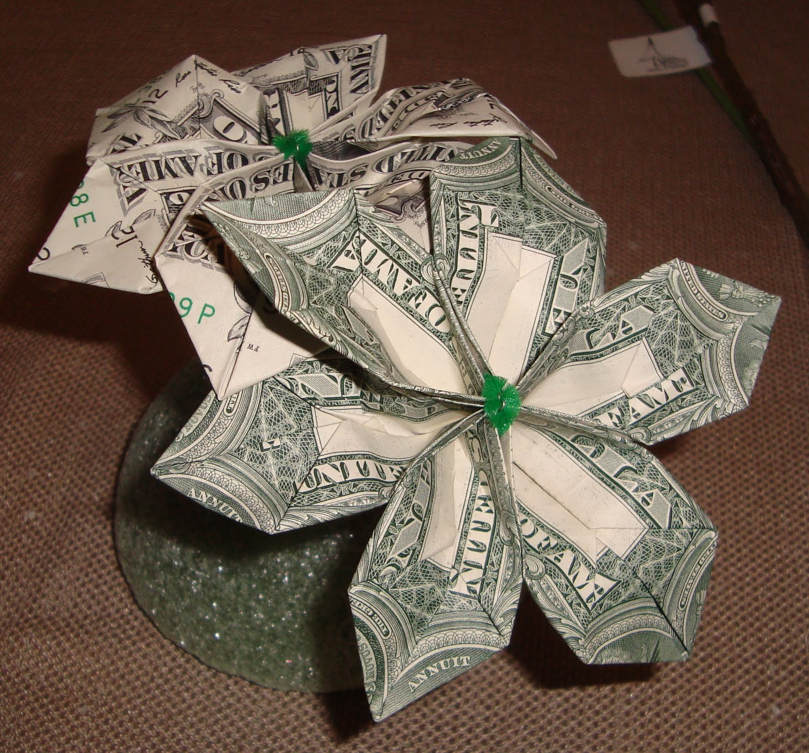 Origami flowers with money flowers healthy the goodlaff bride just tossing money away origami money flower mightylinksfo