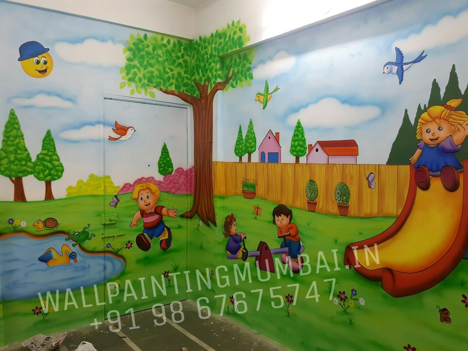 Play school wall painting play school classroom best for Classroom wall mural