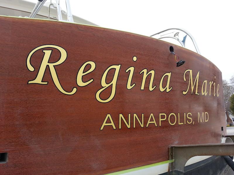 regina marie - gold leaf boat lettering