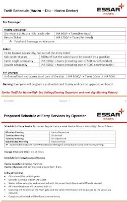 Surat Hajira to Diu Cruise Time Table and Ticket Price