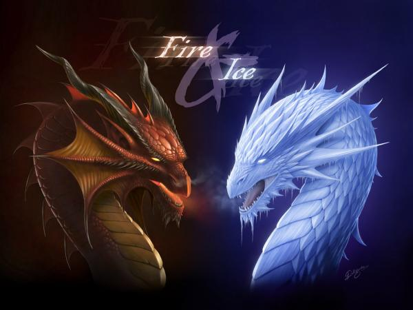Fantasy Dragon Fire And Ice, Dragons