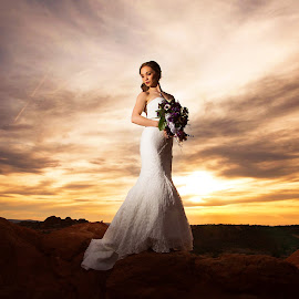 Burning by Kylie Nielson Howes - Wedding Bride ( wedding photography, bridal, bridal photography, sunset, beautiful, bride, photography )