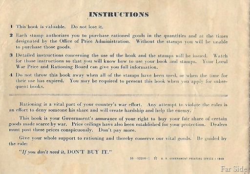 Back of Ration Book