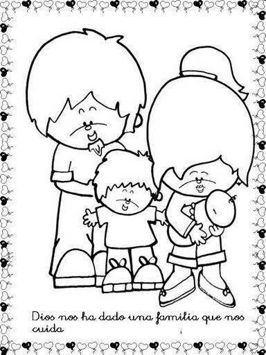 Imágenes de Dios nos ha dado una familia que nos cuida para colorear