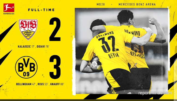 Bundesliga: Dortmund recorded a 3-2 win over Stuttgart as Bellingham and Reus were on target for Yellow and Black (Highlights) 2020-2021
