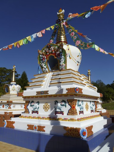 The main stupa at Chenrezig Insitute's Garden of Enlightenment, Eudlo, Australia, 2011. Photo by Ray Furminger.