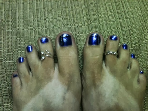 blue, black  silver toes