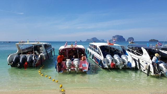 Speed boats at Phra Nang Beach, Railay Peninsula, Krabi
