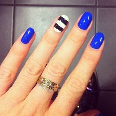 Latest blue black and white nail designs 2016 fashionte solid blue nails with white lines and white solid nails with blue lines straightforward and simple blue and white nail art style for each day prinsesfo Choice Image