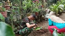 Satgas TMMD Kodim Tapsel, Komsos ke Warga yang Sedang Rawat Bunga