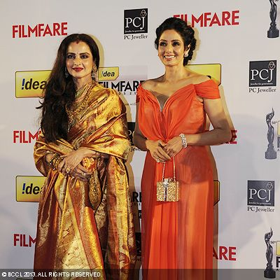 The old wines Rekha and Sridevi at the 58th Idea Filmfare Awards in Mumbai.Click here for:<br />  58th Idea Filmfare Awards