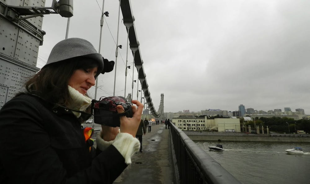 taking photos on the bridge