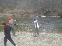 Stone throwing into the Octoraro River