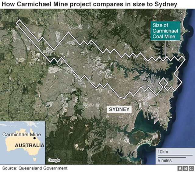 How the proposed Carmichael coal mine project compares in size to Sydney, Australia. The mine will cover an area seven times the size of Sydney Harbour. Graphic: BBC News