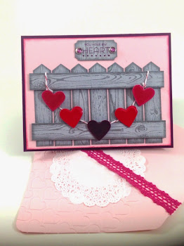 Linda Vich Creates: Valentine Round Up. The Hardwood Stamp helps to create a realistic fence, topped with a banner of glossy hearts. A matching wooden sign shares the card's Valentine sentiment.