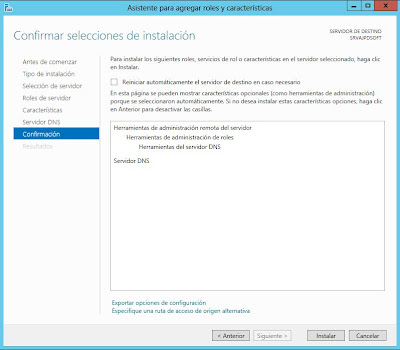 Instalar rol de Sevidor de DNS en Windows Server 2012
