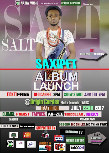 Saxipet Shows Off #SaltTheAlbum Lunching Banner + Releasing Date