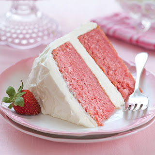 Strawberry Cake with White Chocolate Cream Cheese Frosting.