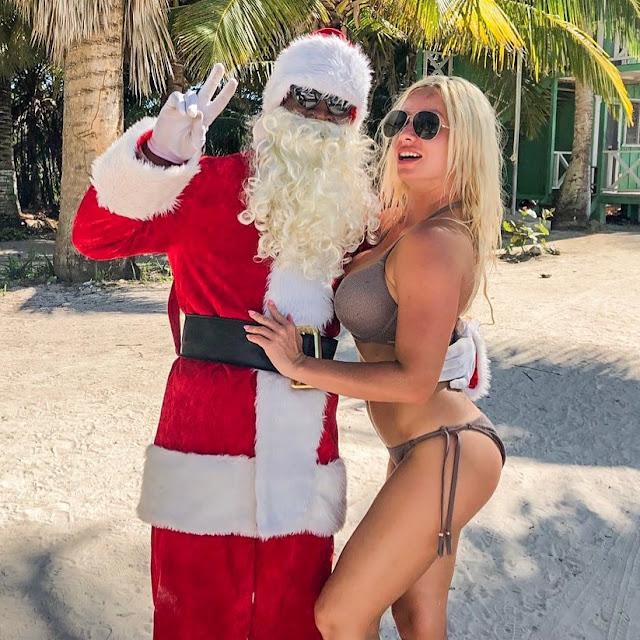 Santa with a Hot sexy Bikini model style fashion outfit