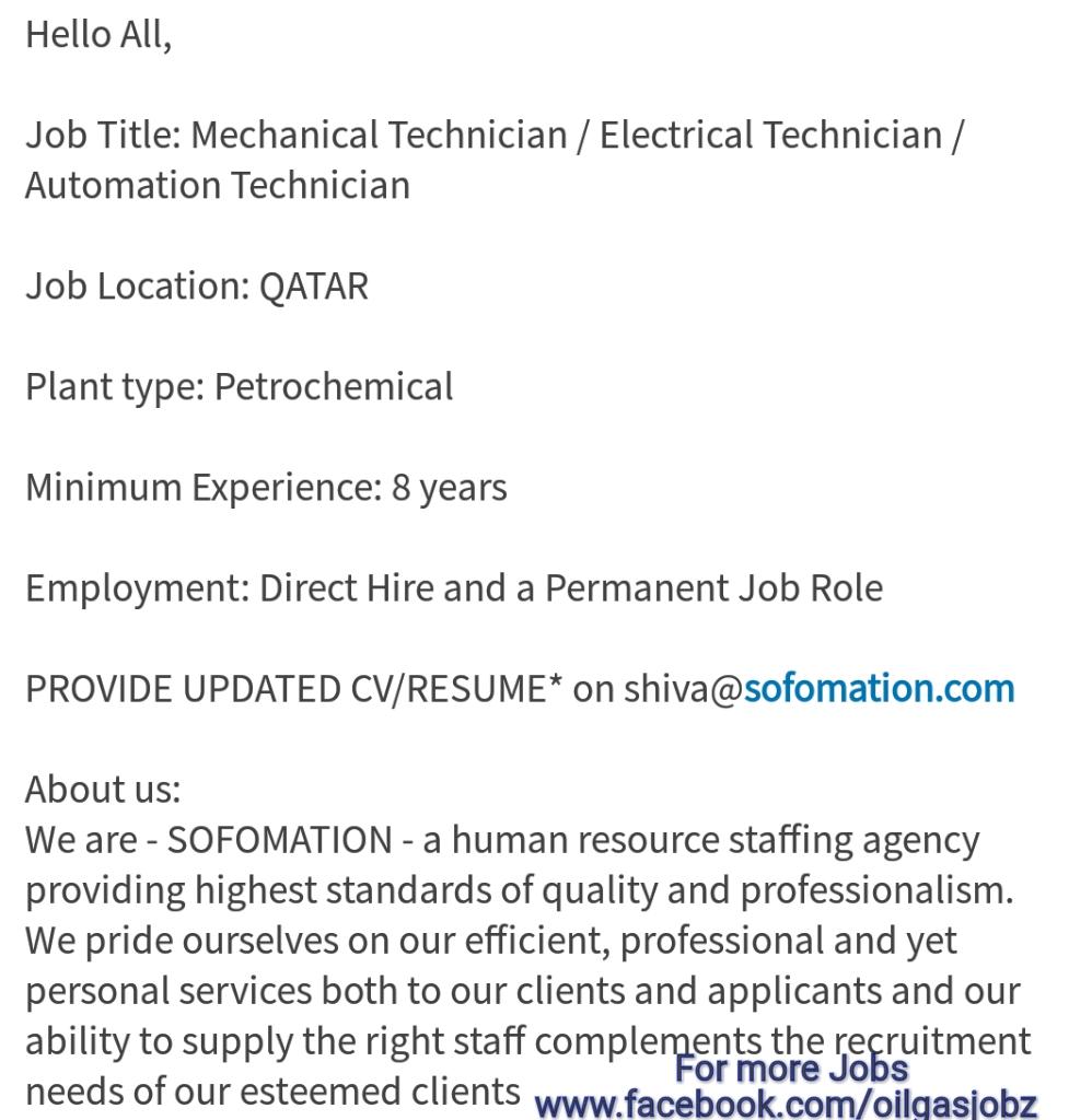 cv for mechanical technician