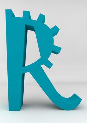 lettre 3D homme joker turquoise - R - images libres de droit